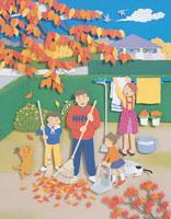 落ち葉と4人家族 イラスト