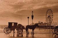 馬車と観覧車 ブラックプール イギリス セピア