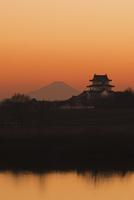 富士山と関宿城と利根川夕焼け