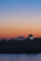 富士山と関宿城ライトアップと利根川夕焼け