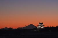 富士山と関宿城ライトアップと夕焼け