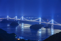 来島海峡大橋のライトアップ