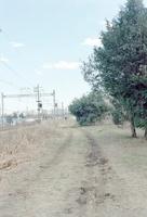 郊外電車の線路脇の未舗装の道の冬景色