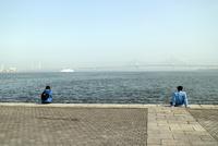 海岸公園から海を望む二人の人物