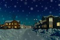 雪降る夜の住宅街の道 01176011528| 写真素材・ストックフォト・画像・イラスト素材|アマナイメージズ
