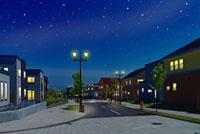 石畳の道のある住宅街の夜景と星空