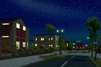 住宅街の夜景と星空