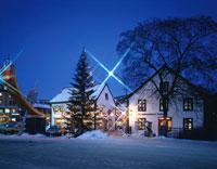 クリスマスシーズンのリレハンメル住宅街の風景 ノルウェー