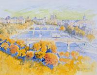 秋のセーヌ川 イラスト 01197010000| 写真素材・ストックフォト・画像・イラスト素材|アマナイメージズ