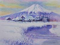 新雪の富士山と忍野村の水彩画