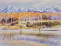 初冬の八ヶ岳山麓の水彩画