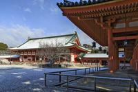 冬の平安神宮蒼龍楼から見る大極殿