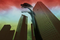 恐竜とビル街 合成