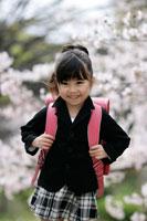 桜の木とランドセルを背負った女の子