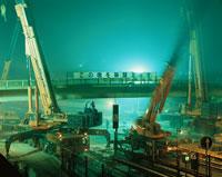 夜間の橋架替え工事  千葉県