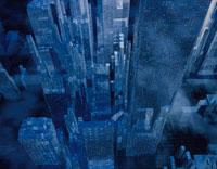 ビル群の俯瞰(青) CG