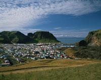 ウェストマンアイランドの町並と山 アイスランド