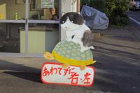 街角のネコのキャラクター看板