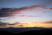 夕焼けと北アルプス穂高連峰