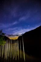 王滝村 自然湖立枯れと南東方面の星空