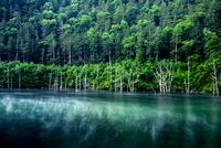 王滝村 蒸気霧流れる自然湖