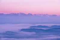高ボッチ高原より朝焼けに染まる北アルプス連峰と松本の街並みを包む雲海