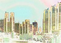 新宿のビル群のイラスト 01368000247| 写真素材・ストックフォト・画像・イラスト素材|アマナイメージズ