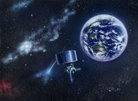 地球と宇宙に漂う人工衛星