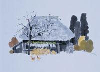 晩秋の民家  イラスト 01432000002| 写真素材・ストックフォト・画像・イラスト素材|アマナイメージズ