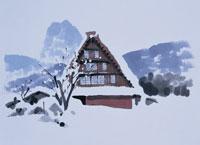 雪の白川郷 イラスト