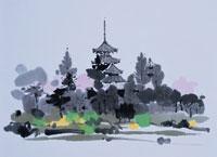 奈良の法輪寺の桜と五重塔の風景 イラスト 01432000014| 写真素材・ストックフォト・画像・イラスト素材|アマナイメージズ