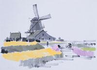 風車・オランダ イラスト 01432000035| 写真素材・ストックフォト・画像・イラスト素材|アマナイメージズ