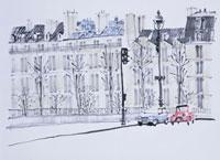 パリの街角 イラスト 01432000039| 写真素材・ストックフォト・画像・イラスト素材|アマナイメージズ