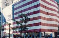 アメリカ国旗で覆われた5番街のチェイスバンク NY アメリカ