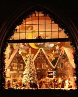 冬のローテンブルグのクリスマスツリー ドイツ