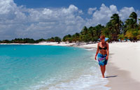 Woman walks on sandy beach