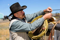 cowboy preparing saddle