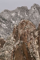 snow on slopes of the Grand Canyon,Huang Shan