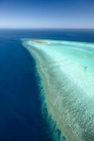 Heron Island with platform reef from above, cords of the cor