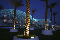 The Yas Hotel, a hotel facility built across the F1 Yas Marina Circuit, Yas Island, Abu Dhabi, United Arab Emirates, UAE