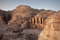 The monastery Ad Deir carved out of stone in the evening light, Petra, UNESCO world herritage, Wadi Musa, Jordan, Middle East, A