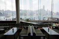View of Victoria Harbour and Hongkong Island from the InterContinental Hotel, Tsim Sha Tsui, Kowloon, Hongkong, Hong Kong, China