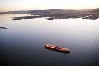 USA, California, San Francisco, View of the San Francisco Bay and a cruise ship from the Airship Ventures Zepplin