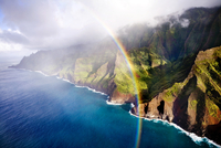 USA, Hawaii, a beautiful view of a rainbow and the Napali Coast, Kaua'i
