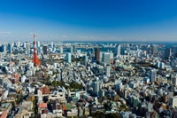 東京タワーと周辺の町並み