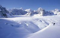 冬のマッキンリー山と2人の登山者 アラスカ州 アメリカ