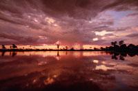 水たまりの上の日没と嵐雲