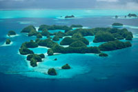 Aerial view of Rock Islands、 limestone islands have been cu