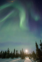 Northern lights or aurora borealis over boreal forest with r 01543026226| 写真素材・ストックフォト・画像・イラスト素材|アマナイメージズ