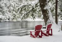 雪の川岸に置かれた椅子 01543048706  写真素材・ストックフォト・画像・イラスト素材 アマナイメージズ